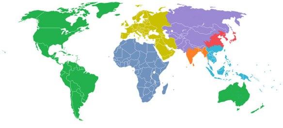 mapas_ajuda_entender_mundo_cada região colorida com 1 bilhão de habitantes