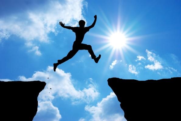 Confiança de saltar abismo