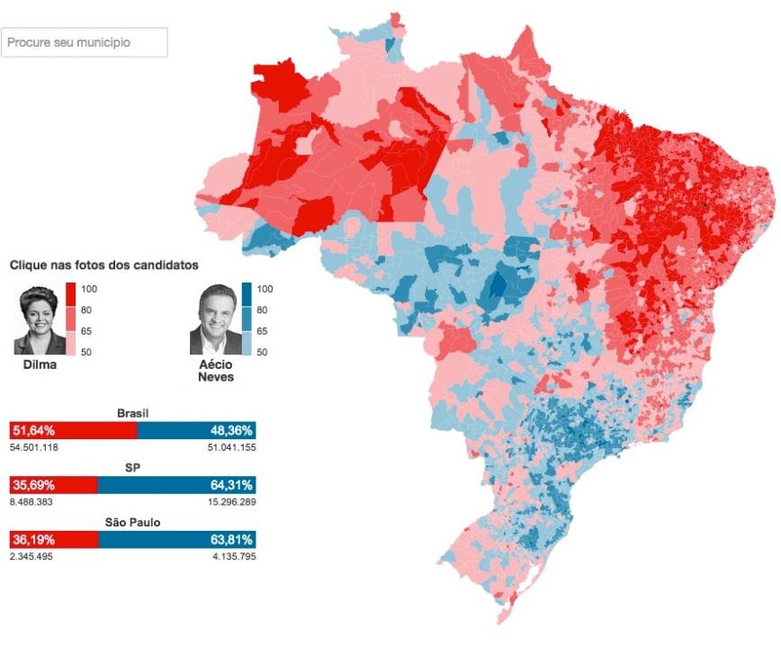 Mapa Eleitoral por Municípios 2014