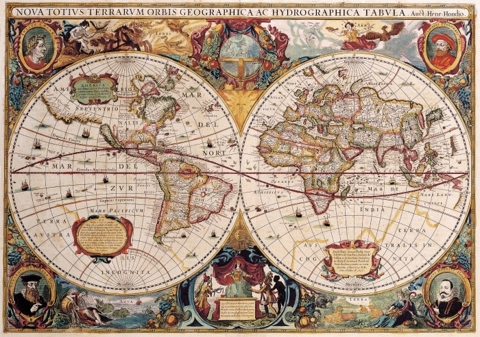 Antique Maps of the WorldDouble Hemisphere MapHenricus Hondiusc 1630