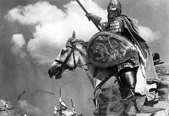 Prince Alexander Nevsky marshals his Russian peasant troops to victory over the invading German hordes at Lake Peipus in 1242, in a scene from the 1938 movie classic Alexander Nevsky.Photo of Corinth Films, Inc.