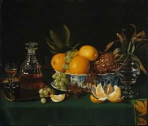 still-life-on-a-green-table-cloth-by-charles-bird-king-300x255