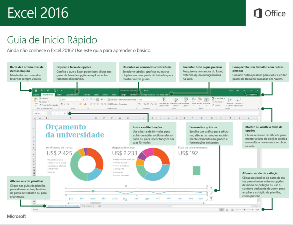 Guia de Início Rápido do Excel 2016