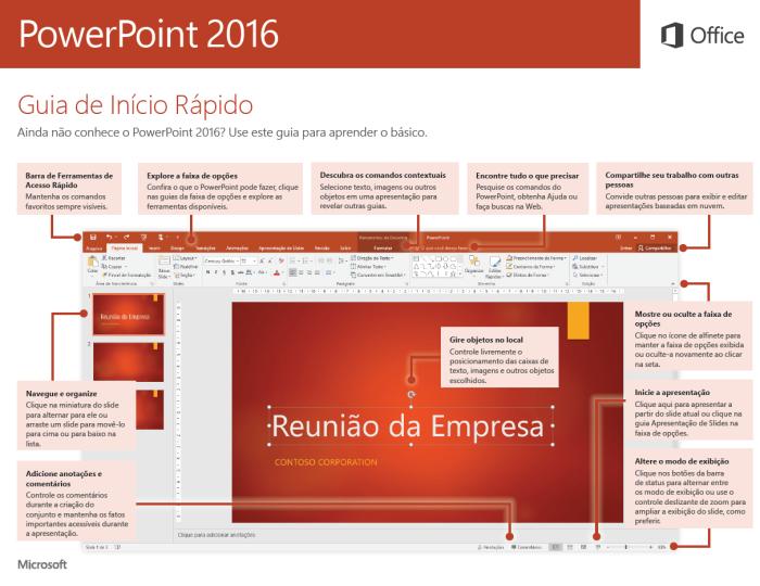 Guia de Início Rápido do PowerPoint 2016