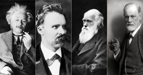 pensadores-que-formaram-o-mundo-moderno-albert-einstein-friedrich-nietzsche-charles-darwin-e-sigmund-freud-1395767480330_956x500